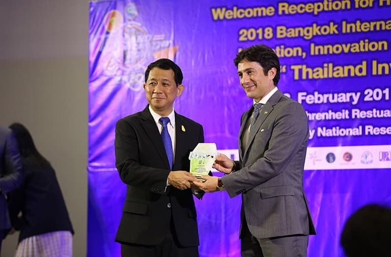 Prof Sirirurg Songsivilai, Secretary-general of National Research Council of Thailand awards IFIA President, Alireza Rastegar
